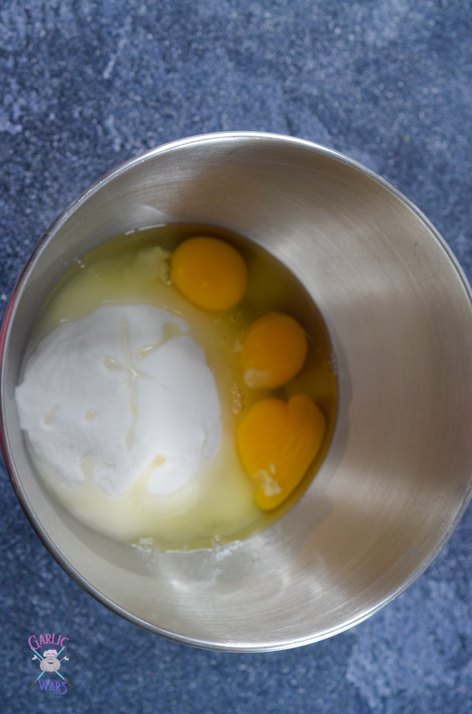 eggs and sugar for fudgy brownies