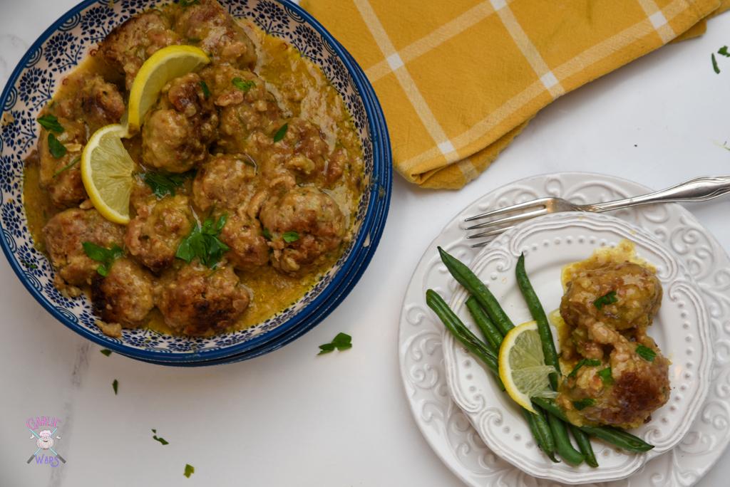 lemon turkey meatballs in serving bowl