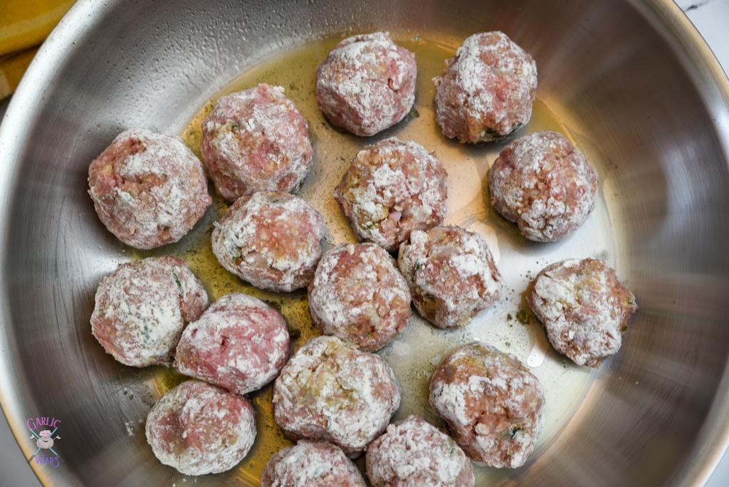 meatballs on skillet