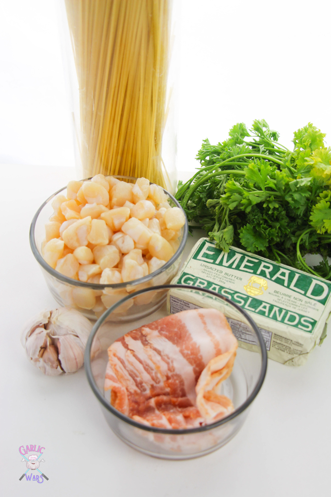 ingredients for scallop pasta