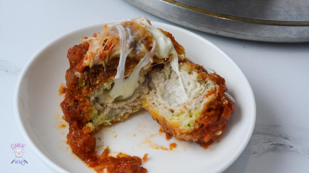 air fryer meatballs stuffed with mozzarella