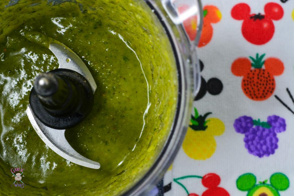 pesto ingredients in blender