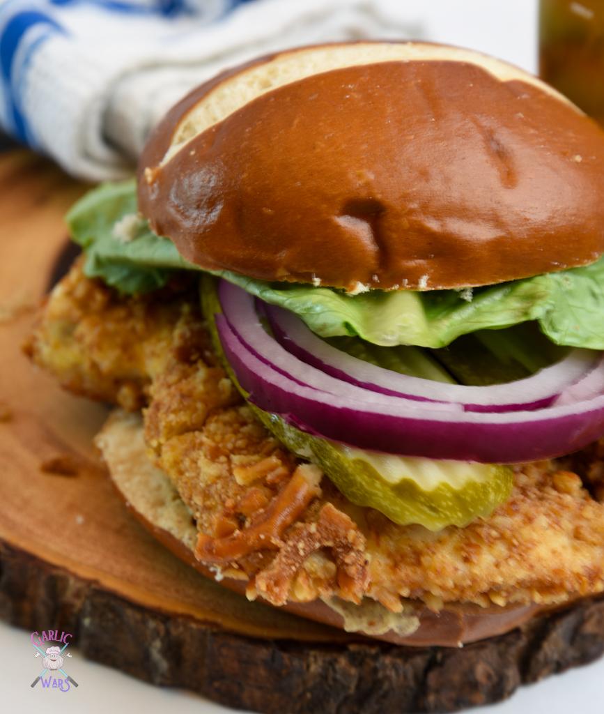 Air Fryer Pretzel Crusted Chicken Sandwich
