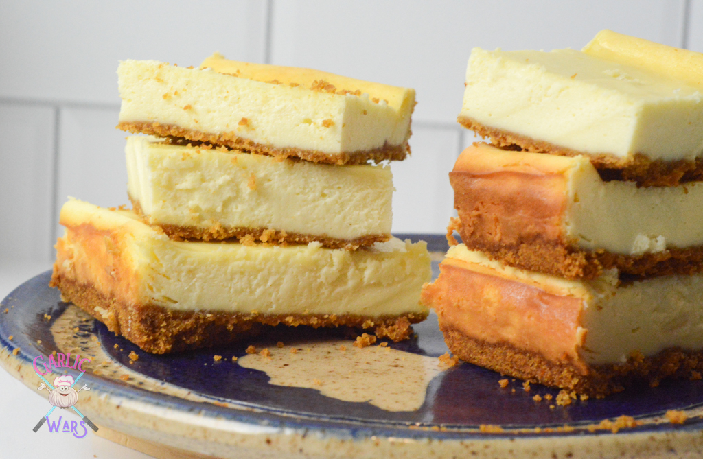 two stacks of cheesecake bars