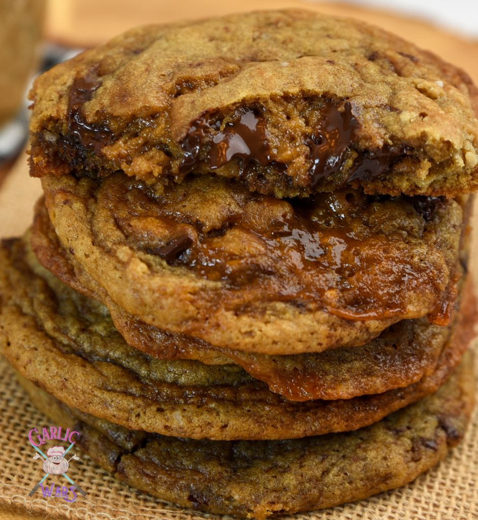 close up of stack of coffee chocolate chip cookies