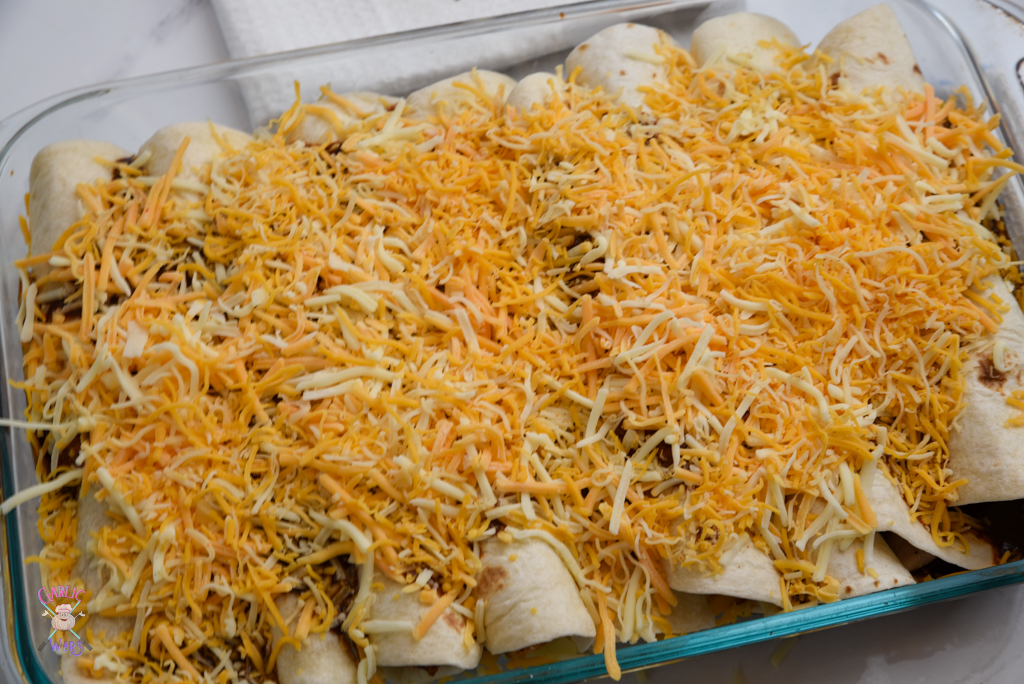 cheese over top of enchiladas