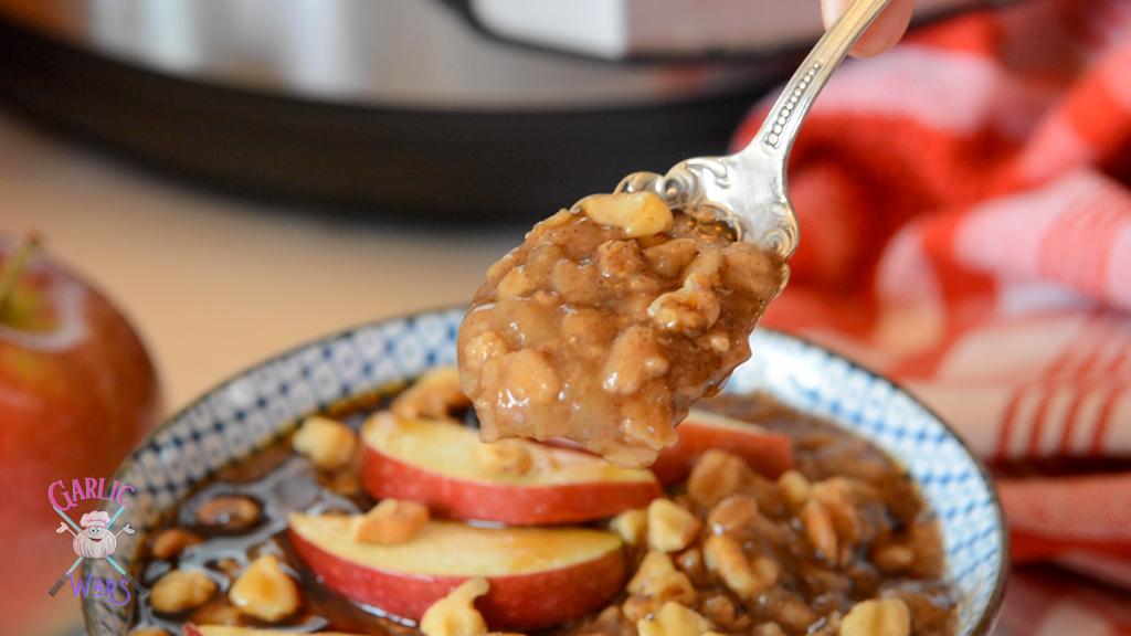 apple pie instant oatmeal on spoon