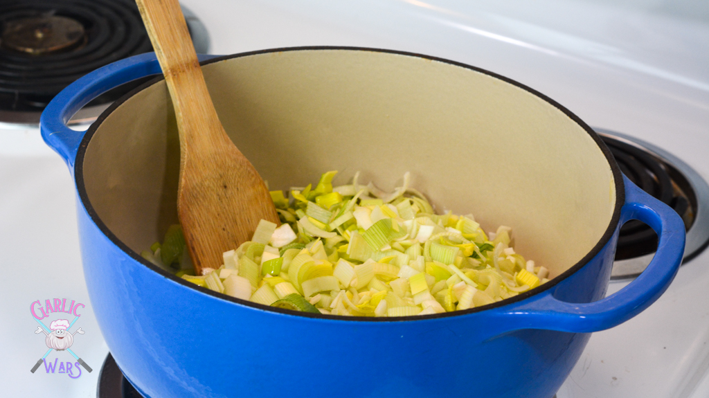 leeks and celery in dutch oven