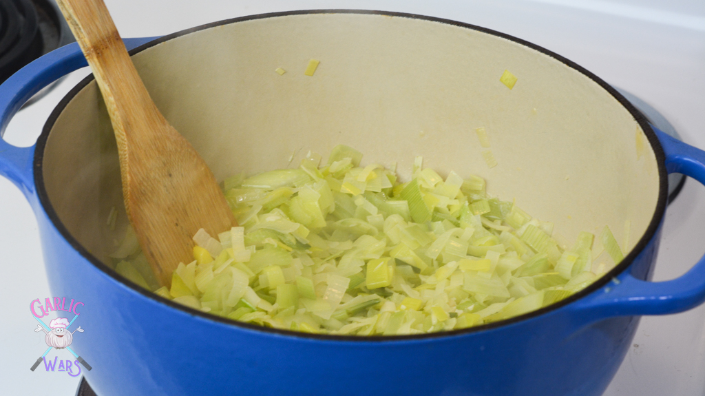 fully cooked leeks and celery