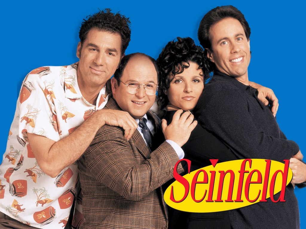Seinfled Binge Guide cover - Kramer, George, Elaine, and Jerry with Seinfeld logo