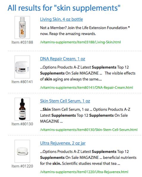 Life Extension skin rejuvination supplements