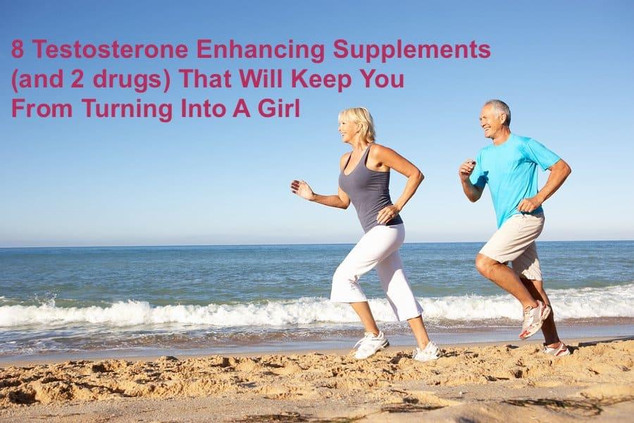Senior Couple In Fitness Clothing Running Along Beach