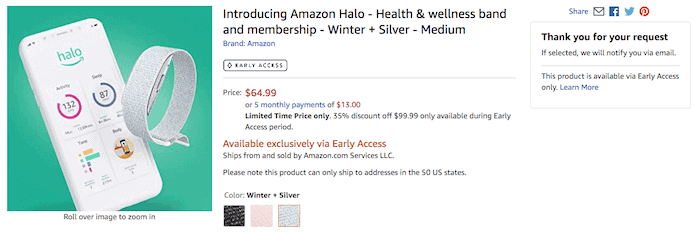 Amazon Halo early access price