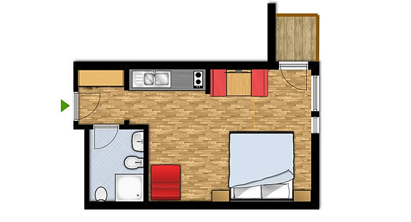 One-room apartment for 2-3 people