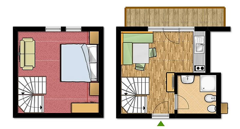 Apartment on 2 floors for 2-4 people