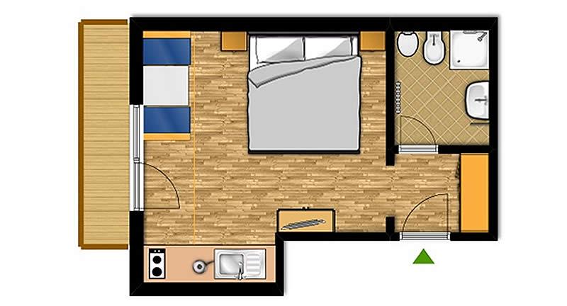 Appartamento bilocale da 2-4 posti letto