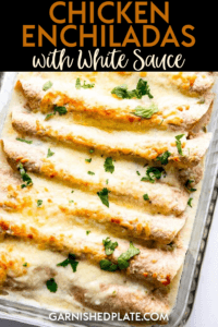 These easy chicken enchiladas with white sauce use leftover shredded chicken and a simple homemade white sauce for a quick and easy weeknight dinner your family will love. #enchiladas #sourcreamsauce