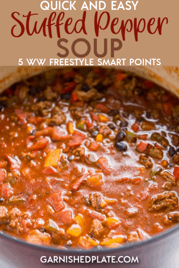 Love stuffed peppers but not a fan of the extra work? How about this quick and easy stuffed pepper soup instead? All the delicious flavors you love in about 20 minutes! #soup #souprecipes #stuffedpeppers