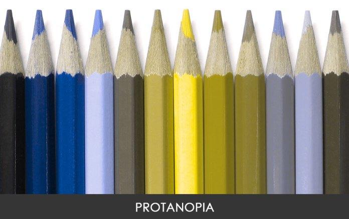 Os tons de vermelho e verde não são distinguíveis e se mostram em tons amarronzados