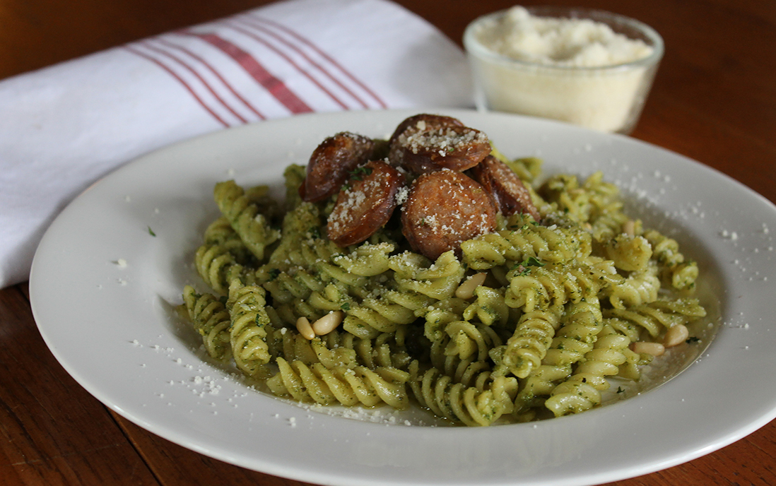pesto pasta with sausage