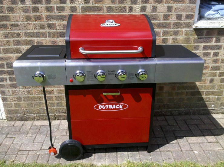 A red gas BBQ