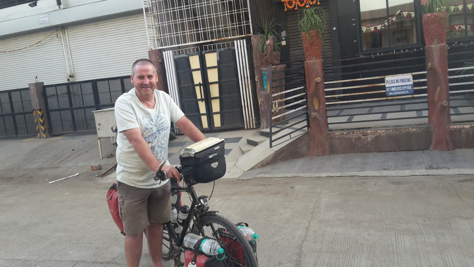 Garry McGivern leaving the hotel in Indore.