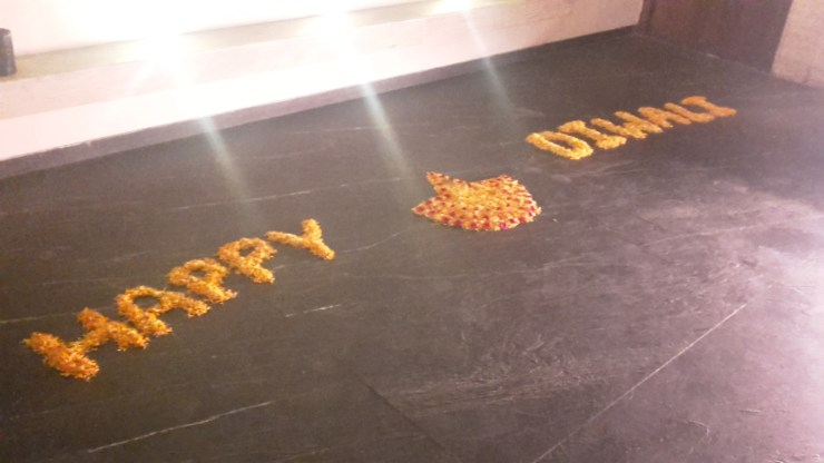 Happy Diwali sign made with flowers