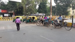 A taxi stand for rickshaws in Lucknow.