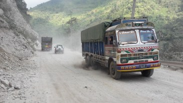 Not only a rough road from Mugling to Narayangadh but Garry also had to contend with the fumes from the lorries!