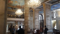 Marble and chandeliers in the Royal Plaza hotel lobby in Delhi