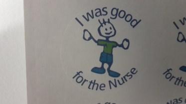 Garry got a sticker for being good