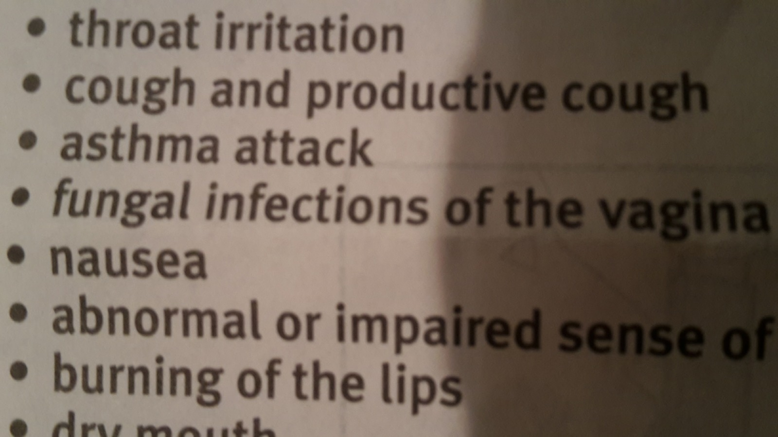 Health warnings on Garry's new medication