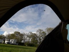 Looking at the sky from a tent