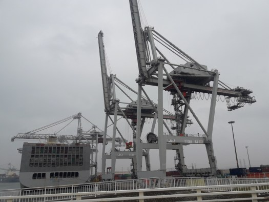 Ship, containers cranes