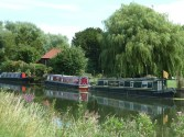 Canal boats on the river Cam Cambridge