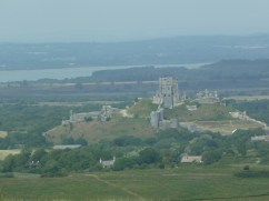 Corfe Castle with Poole harbour