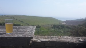 Enjoying the view and a pint of scumpy in Dorset