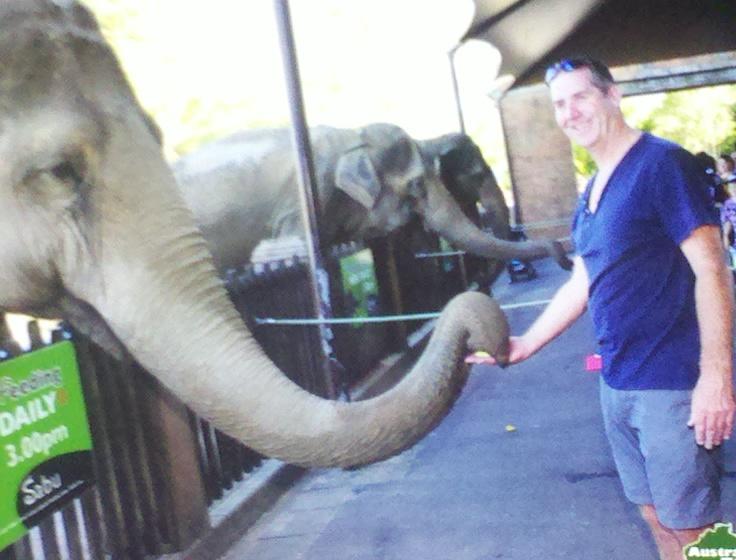 Garry McGivern feeding an Elephant