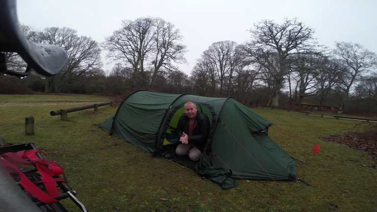 Man and tent