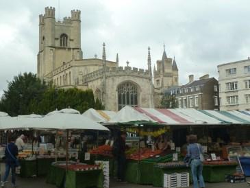 Great St Marys church and market Cambridge