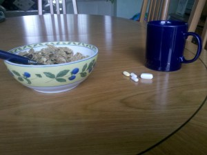 Cereal coffee and tablets for breakfast
