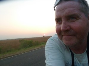Garry McGivern cycling into the night.