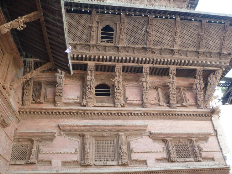 Wooden carvings on the buildings