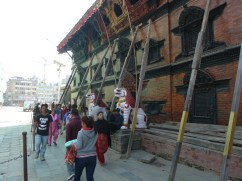 Buildings being propped up in Durbar Square Kathmandu