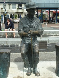 Statue of Lord Baden Powell on the quayside in Poole