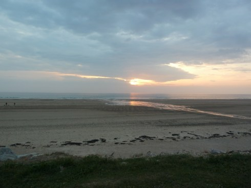 Sunset on the beach at Les Pieux, Normandy