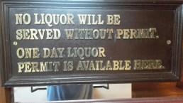 Sign on the hotel bar in Mumbai.