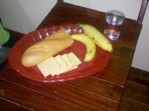 Lunch water crackers banana and water