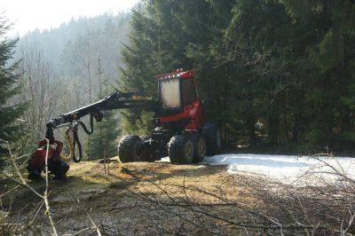 Harvester wartet auf Einsatz