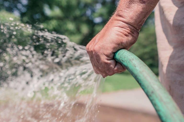 Mann gießt Garten mit Schlauch